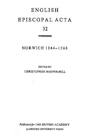 Norwich 1244-1266 Volume 32