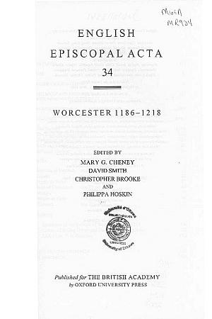 Worcester 1186-1218 Volume 34