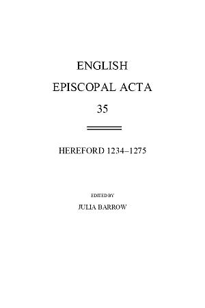 Hereford 1234-1275 Volume 35