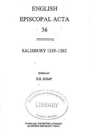 Salisbury 1229-1262 Volume 36