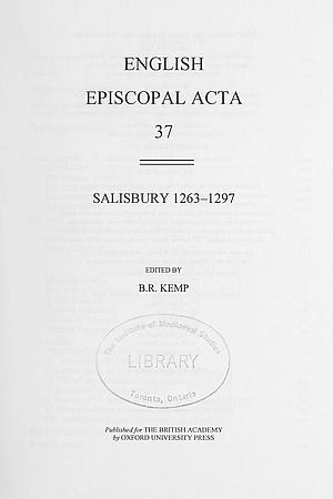 Salisbury 1263-1297 Volume 37