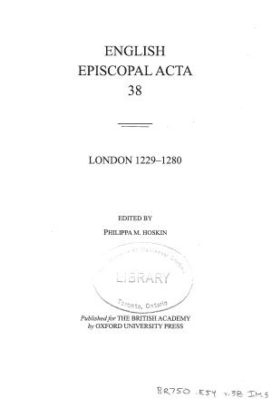 London 1229-1280 Volume 38