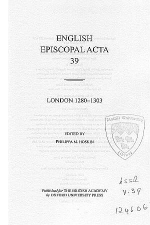 London 1280-1303 Volume 39