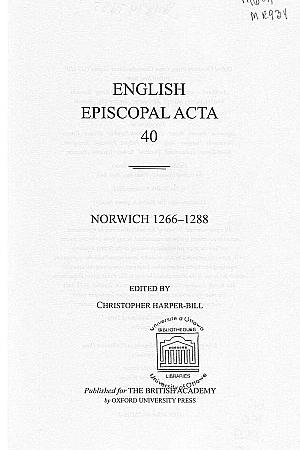 Norwich 1266-1288 Volume 40