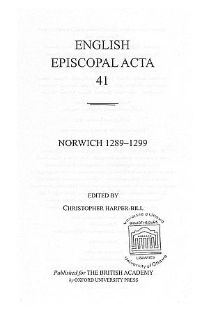 Norwich 1289-1299 Volume 41