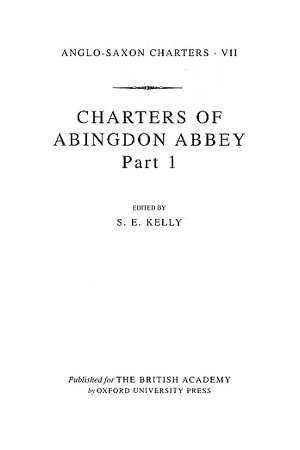 Charters of Abingdon Abbey