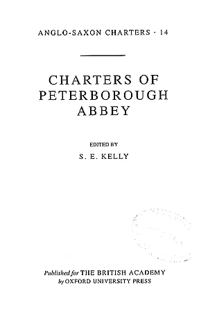 Charters of Peterborough Abbey
