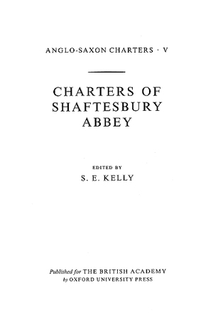 Charters of Shaftesbury Abbey