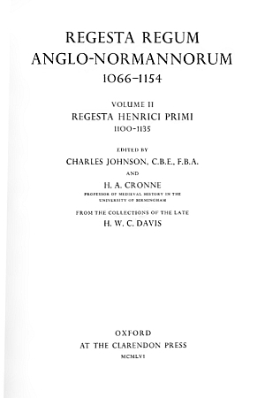 Regesta Henrici Primi, 1100-1135
