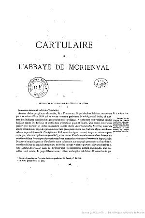 Cartulaire et censier de l'abbaye Notre-Dame de Morienval