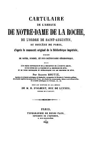 Cartulaire de l'abbaye de Notre-Dame de La Roche
