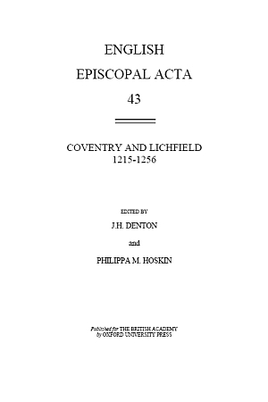 Coventry and Lichfield 1215-1256 Volume 43