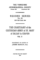 Cartulary 0075 - Chartulary of the Cistercian Abbey of St. Mary of Sallay in Craven(Volume 2)