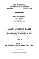 Cartulary 0300 - York Minster Fasti(Volume 2)